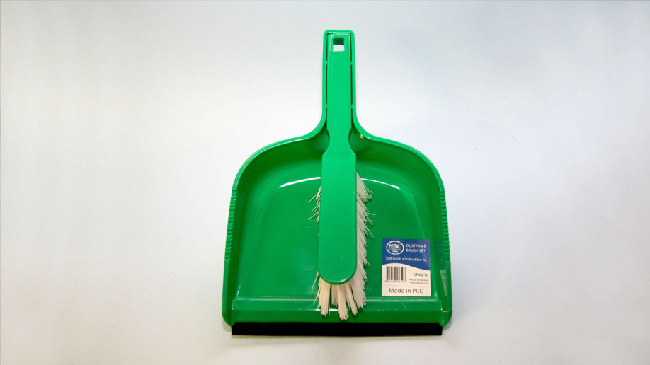 OPEN PLASTIC DUSTPAN AND BRUSH SET SOFT GREEN EA.